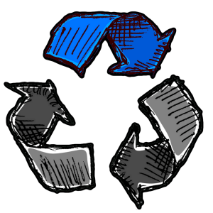 Recycle-symbol-with-only-the-top-arrow-highlighted-blue-100%-satisfaction-guarantee-for-junk-removal-in-georgia